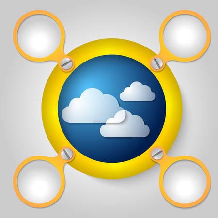 annular: yellow circular frame for text and clouds Illustration