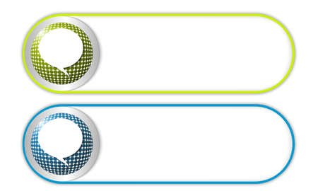 annular: two vector buttons with grid and speech bubble Illustration