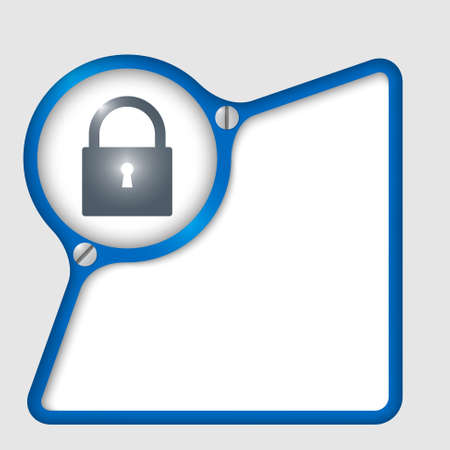 blue abstract frame with screws and padlock Vector
