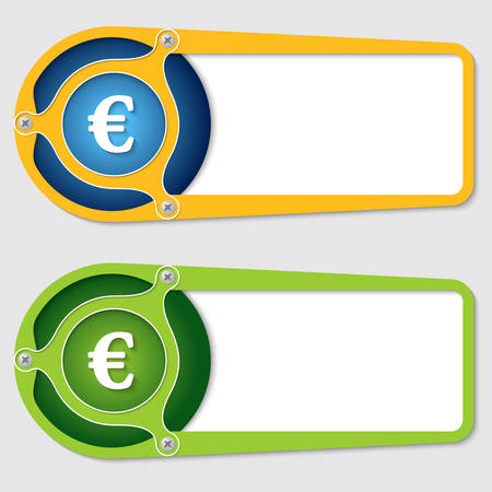 set of two boxes for entering text with euro symbol Vector