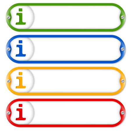 four frames for entering text with screws and info symbol Vector
