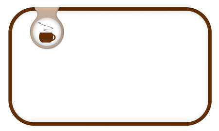 intermission: brown text frame for any text with cup of coffee