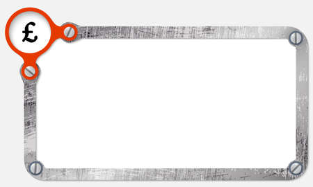 pound sterling: metal frame for text with screws and pound sterling symbol Illustration