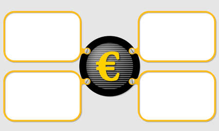 euro screw: four yellow frame for text with euro symbol