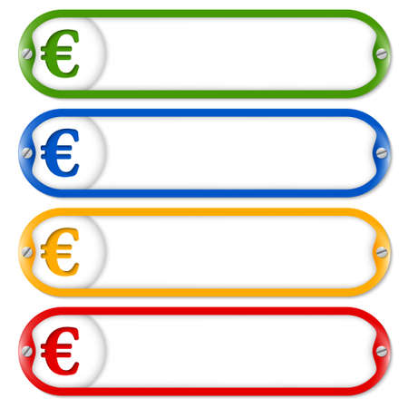 euro screw: four frames for entering text with screws and euro Illustration