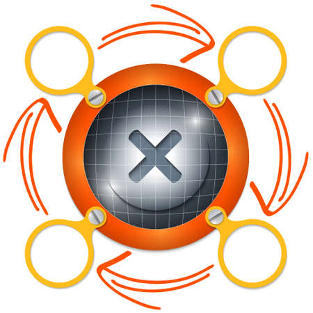 multiplication: red circular frame for text with arrows and multiplication symbol Illustration