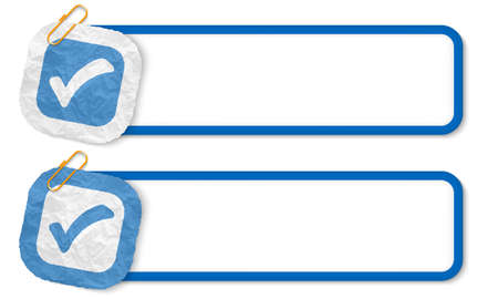 annular: blue frames with texture crumpled paper and check box Illustration