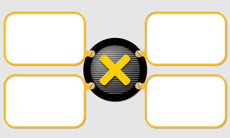 multiplication: four yellow frame for text with multiplication symbol