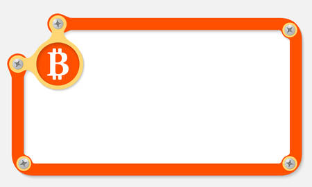 orange frame for text with screws and bit coin symbol Vector
