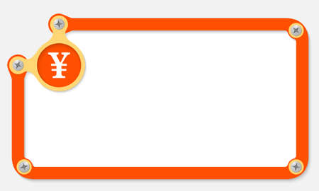 orange frame for text with screws and yen symbol Vector
