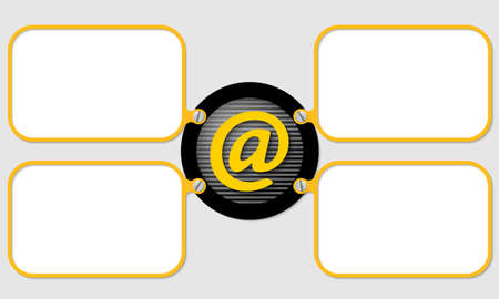 four yellow frame for text with email icon Vector
