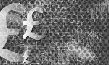 sterling: transparent pound sterling symbol and scratched background