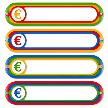 euro screw: four colored frames for any text with euro symbol Illustration