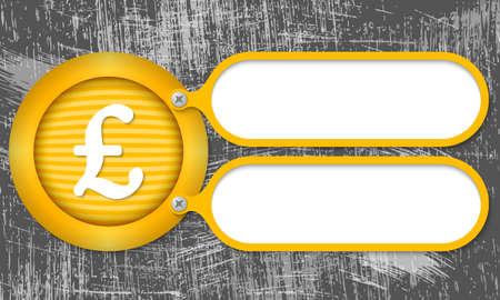 libra esterlina: Marcos amarillos con el s�mbolo de la libra esterlina y el fondo rayado
