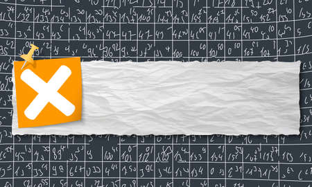 multiplication: banner with crumpled paper and multiplication symbol