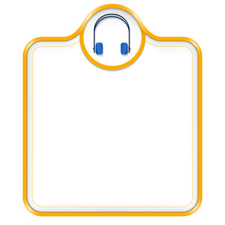 yellow vector: yellow vector box for text with headphones