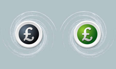 pound sterling: set of two icon with pound sterling symbol