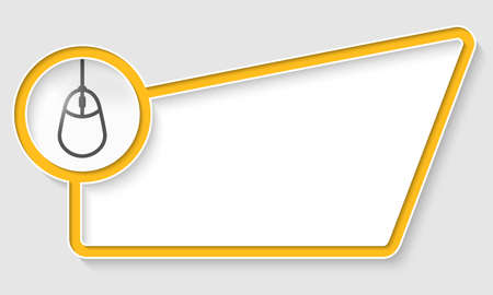 yellow abstract box for text with mouse icon
