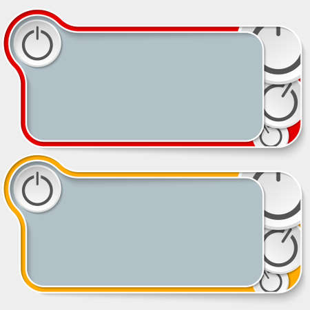 text boxes: set of two abstract text boxes and power button