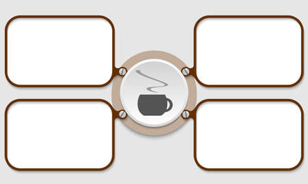 intermission: four brown frame for text and cup of coffee