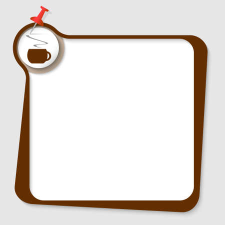 intermission: text box with magnifier and cup of coffee Illustration