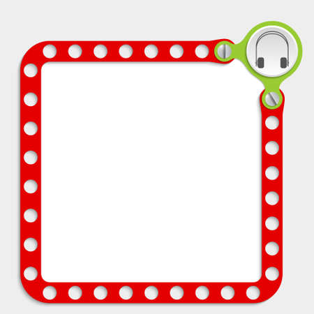 red frame for any text with screws and headphones Vector