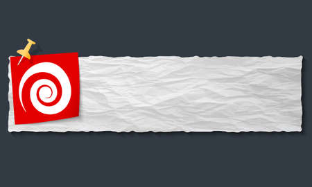 banner with crumpled paper and spiral