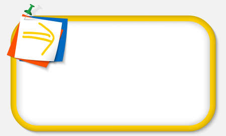 yellow pushpin: yellow frame with pushpin and arrow Illustration