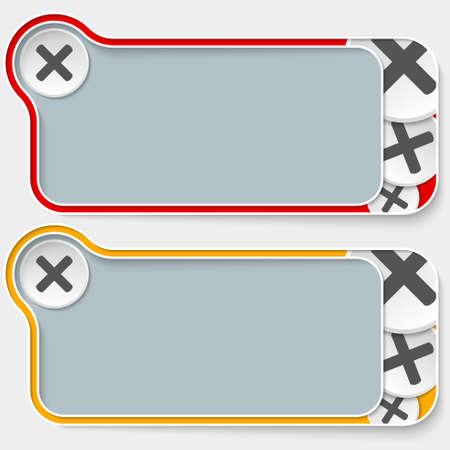 multiplication: set of two abstract text boxes and multiplication symbol