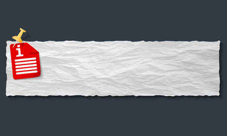 banner with crumpled paper and info symbol Vector