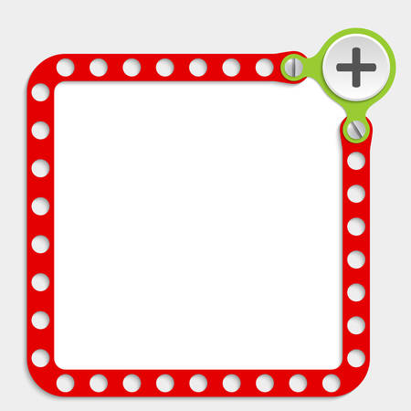 plus symbol: red frame for any text with screws and plus symbol Illustration