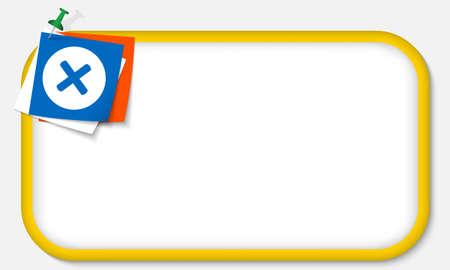 multiplicacion: marco amarillo con el pasador y el s�mbolo de la multiplicaci�n Vectores