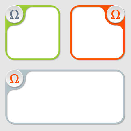 alphabet greek symbols: set of three vector frames and omega symbol Illustration