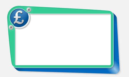 libra esterlina: cuadro de vector verde con tornillos y libra esterlina s�mbolo