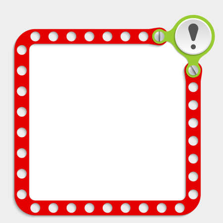 red frame for any text with screws and exclamation mark Illustration