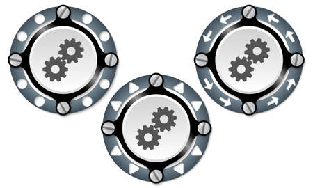 cogwheels: Set of three icons with perforated ring and cogwheels Illustration