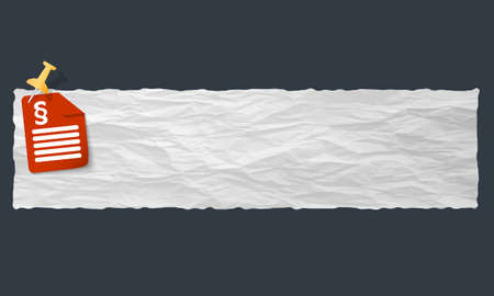 banner with crumpled paper and paragraph Vector