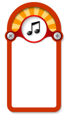 red vertical box for any text with music symbol Vector