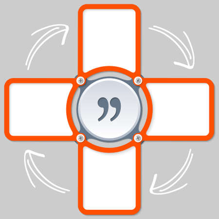 areas: four areas for any text and quotation mark Illustration