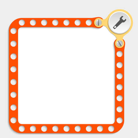 bolt head: red frame for any text with screws and spanner Illustration