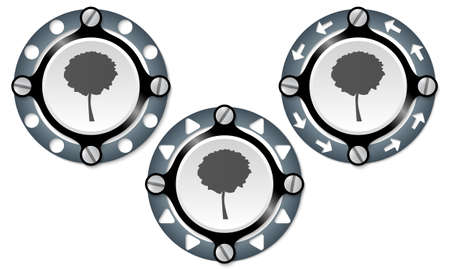 tree ring: Set of three icons with perforated ring and tree symbol
