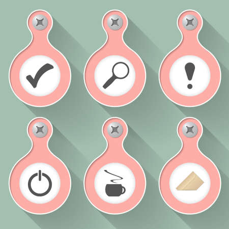 six objects: Set of six vector objects with symbols