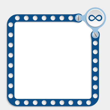 bolt head: blue frame for any text with screws and infinity symbol