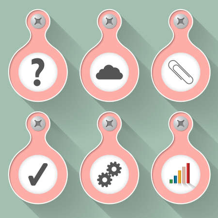 six objects: Set of six vector objects and symbols