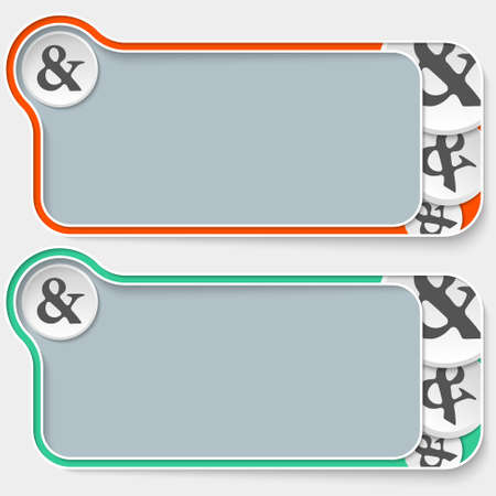 text boxes: set of two abstract text boxes and ampersand