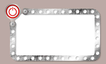 metal frame for any text and power button Vector