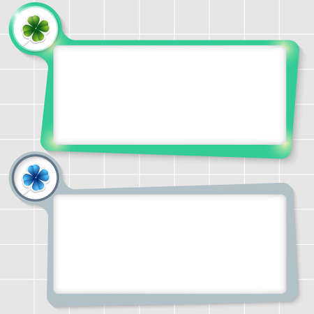 set of two text boxes for text and cloverleaf Vector