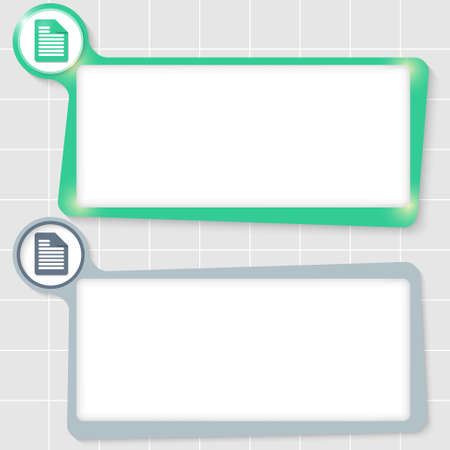 text boxes: set of two text boxes for text and document icon
