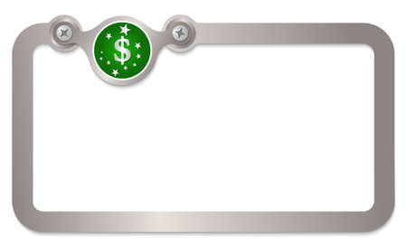metal text frame with stars and dollar symbol Vector