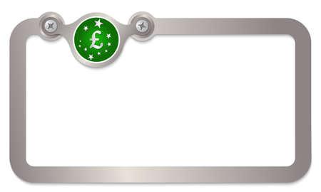 libra esterlina: marco de texto de metal con las estrellas y s�mbolo de la libra esterlina
